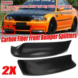A Pair E46 Real Carbon Fiber Car Front Bumper Splitter Lip Diffuser Spoiler Guard Protection For BMW E46 M3 1999-2006 2001