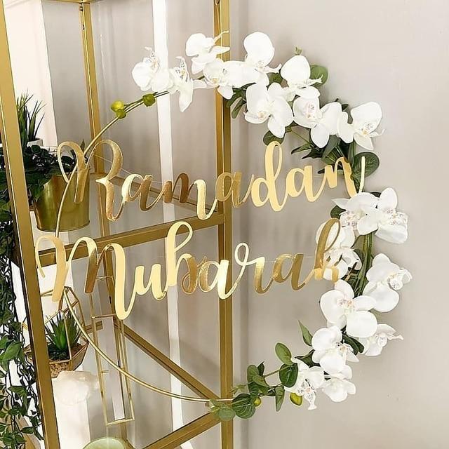 1 Set DIY 10-40cm Iron Metal Ring Wooden Crafts Garland Flowers for Eid Mubarak Ramadan Party Decoration Gift Wedding Home Decor 1