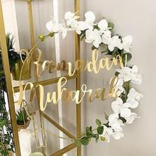 1 Set Diy 10-40Cm Iron Metalen Ring Houten Ambachten Krans Bloemen Voor Eid Mubarak Ramadan Party Decoratie gift Bruiloft Home Decor
