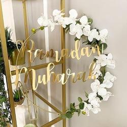 1 Set DIY 10-40cm Iron Metal Ring Wooden Crafts Garland Flowers for Eid Mubarak Ramadan Party Decoration Gift Wedding Home Decor