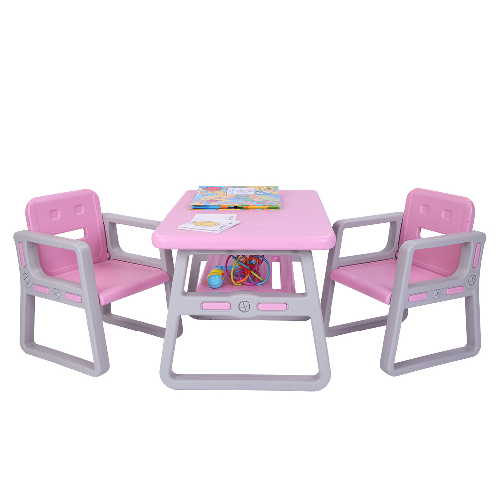 Kids Table And Chairs Set For Toddlers Lego Reading 2  Seats With 1 Tables Sets Desk Chair  Kids Furniture - US Stock