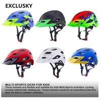 Exclusisky crianças capacete da bicicleta criança tamanho 50 57 57cm apto para 5 13 13 anos vermelho mtb ciclismo capacete proteção de segurança da bicicleta esporte boné e