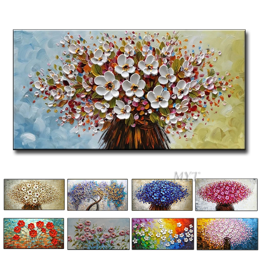 100% Hand-painted Modern Home Decor Wall Art Picture White Pink Cherry Blossom Tree Thick Palette Knife Oil Painting On Canvas