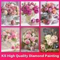 KS 5D DIY Diamond Painting Flowers Mosaic Art Decorative Paintings Art Picture Gift Cross Stitch Kit Full Drill Home Decoration