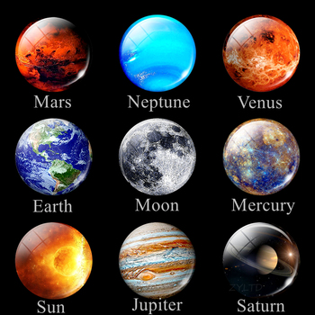 Eight Planets Fridge Magnet Full Moon Earth Solar System Planet Universe Galaxy Nebula Star 30MM Refrigerator Magnets Home Decor 1