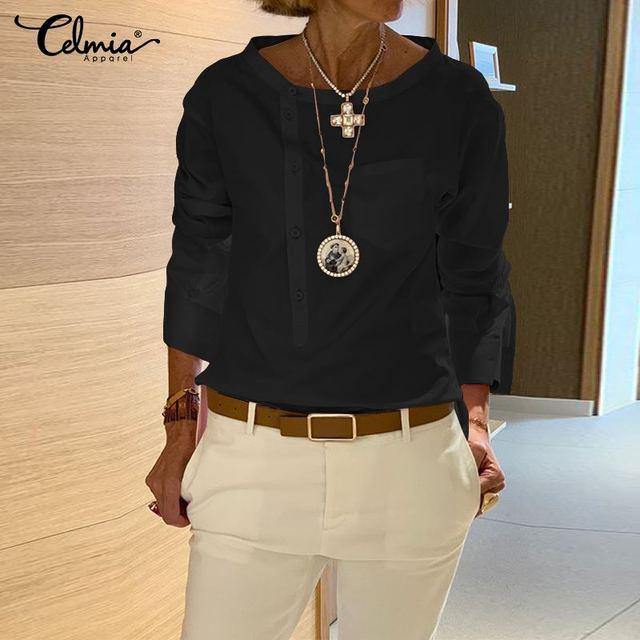 5XL Fashion Shirt 2020 Autumn Long Sleeve Buttons Casual Blouses Celmia Women's Tunic Tops Casual Loose Solid Blusas Femininas 7 4