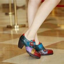 أحذية نسائية صيفية بكعب عالي أحذية ربيعية من الجلد الطبيعي أحذية بكعب سميك بأصابع مربعة بأربطة كعب حذاء نسائي 2020