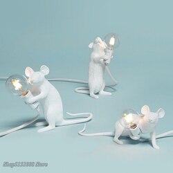 Постмодерн Смола животное крыса стол с мышкой лампа маленькая мини мышь милый светодиодный ночник домашний декор настольная лампа прикров...