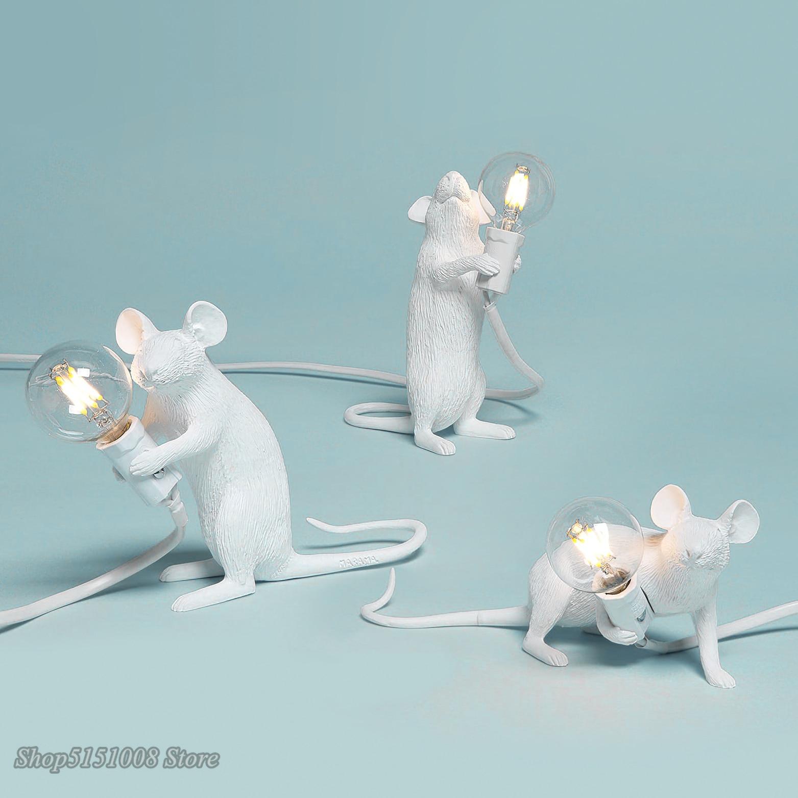 Lámpara de mesa para ratón de Animal rata de resina posmoderna, Mini ratón pequeño, lindas luces LED de noche para decoración del hogar, luces de escritorio, lámpara de noche
