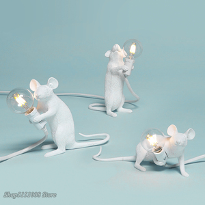 Postmodern Resin Animal Rat Mouse Table Lamp Small Mini Mouse Cute LED Night Lights Home Decor Desk Lights Bedside Lamp(China)