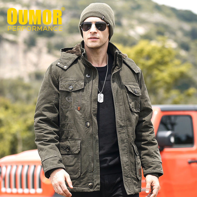 8XL Oumor Men Winter Long Casual Military Army Warm Jacket Parkas Coat Men Autumn Cotton Thick Fleece Pockets Cargo Parkas Men