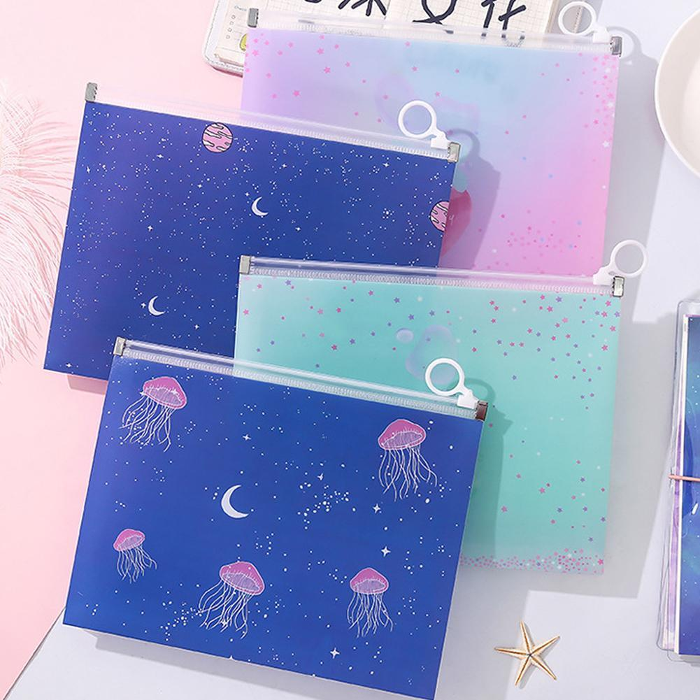 1 Pcs Kawaii A5 PP Transparent Document Bags Planet Jellyfish Fruits File Folder Stationery Organizer Escolar Papelaria Gifts