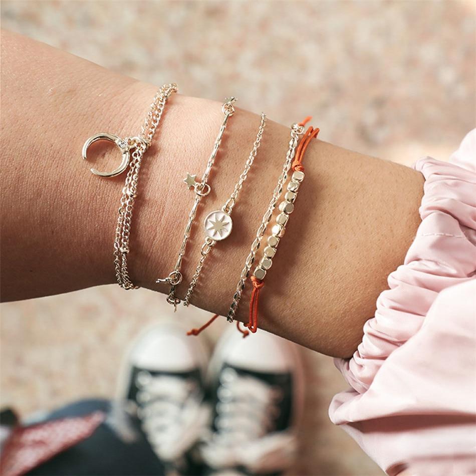 Stone Boho Style Jewelry Sets Hollow Pendant Beads Chain Bracelet Cuff Bangles