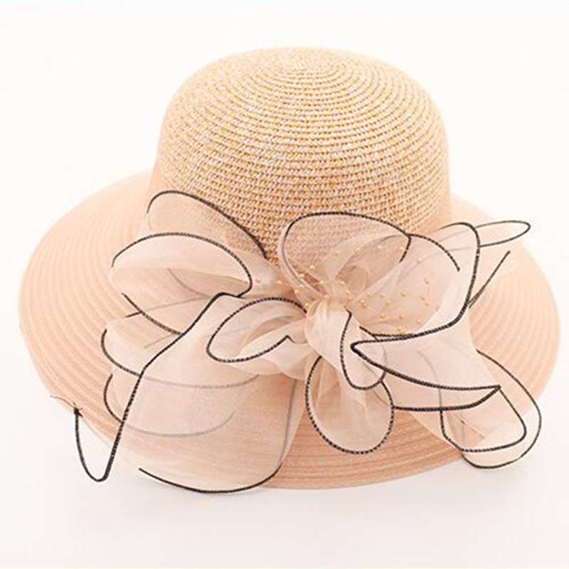 Willow Valley Fashion Organza Large Brimmed Hats Summer Pink Flower Outdoor Big Bowknot Foldable Sun