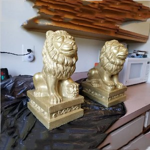 Image 4 - 35cm/13.78in Classic European Style Durable Home Gardening/ Balcony Lion ABS Plastic Concrete Mold Male &Female Pair Statue Set