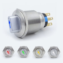 Illuminated Metal Selector Rotary Switch 22mm Self-return Momentary Self-locking Waterproof DPDT 2/3 Position with LED 12V 220V