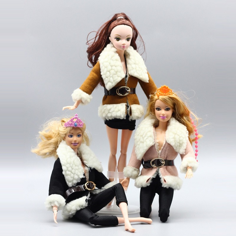 For Barbie Fashion Doll Clothes Accessories Handmade Winter Deer Leather Jacket with <font><b>Belt</b></font> for 30cm <font><b>1/6</b></font> Dolls Toys Girl Gift image