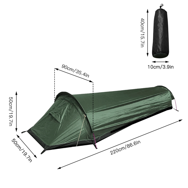 Camping ultralight tent, travel backpack single tent, army green tent 100% waterproof sleeping bag 2