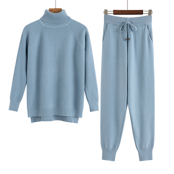 GIGOGOU 2 Pieces Set Women Knitted Tracksuit Turtleneck Sweater + Carrot Jogging Pants Pullover Sweater Set CHIC Knitted Outwear 7