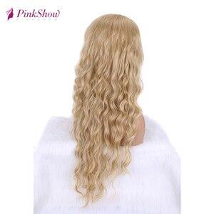 Image 4 - Парик блонд Pinkshow, Длинные Синтетические парики для женщин, глубокая волна, натуральный волос, повседневный парик