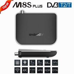 DVB-T2 Android 7.1 WiFi TV Box Amlogic S905D 1G ROM 8G RAM 2.4G 100M Support 4K H.265 DVB T2 Mini Thin M8S Plus DVB Media Player
