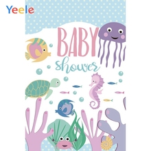 Yeele Baby Shower Party Photocall Deep Sea Fishes Photography Backdrops Personalized Photographic Backgrounds For Photo Studio