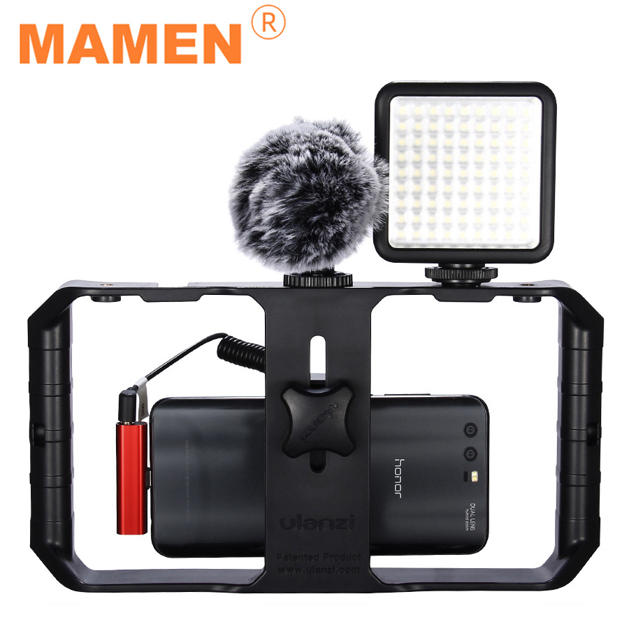 MAMEN Photography Set Phone Video Stabilizer Protective Cage With Microphone&LED Fill Light&Tripod For Smartphone Vlog Shooting