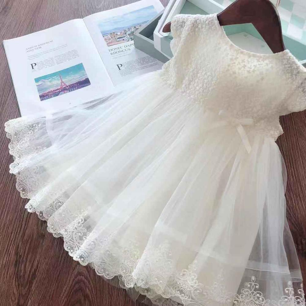 Lace Girl Party Dress Children Clothing Princess Kids Dresses For Girls Causal Wear 2 3 5 6 7 Years White Red Vestido Robe Fille 2
