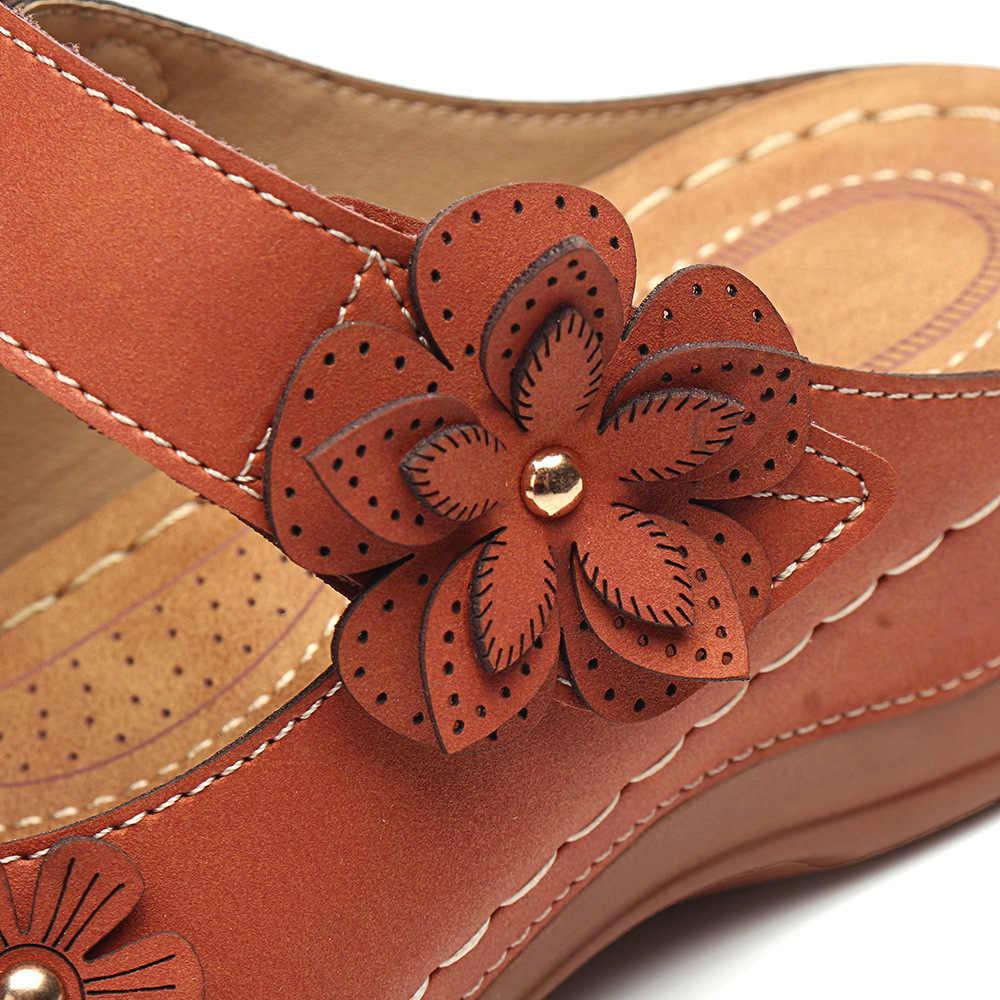 LITTHING kadın sandalet yaz el yapımı bayanlar ayakkabı deri çiçek sandalet kadın daire Retro tarzı anne ayakkabısı boyutu