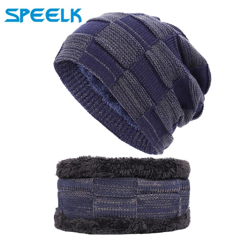 2019 Brand New Men's Outdoor Knitted Hats Men Velvet Wool Beanies Hat Male Autumn Winter knit Warm Skullies Caps Bib Two-piece