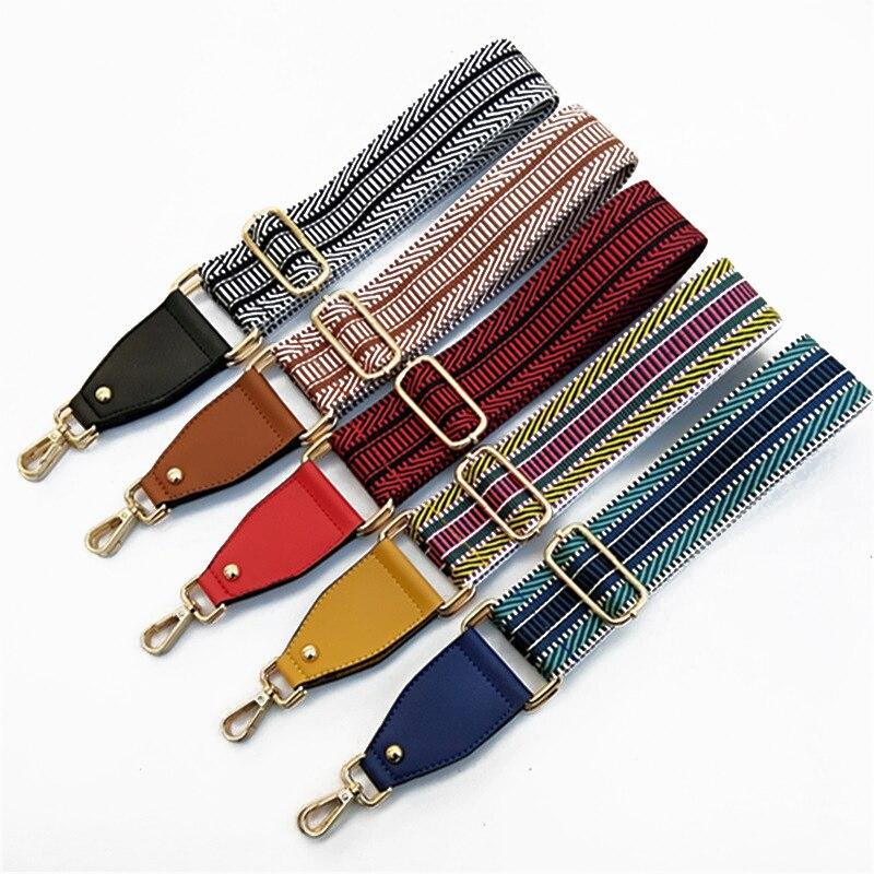 New Adjustable Striped Shoulder Bag Strap Nylon For Crossbody Women Bag Accessories Handbag Purse Strap Bag Belt Bandolera