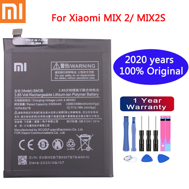 Xiaomi Original Replacement Phone Battery BM3B 3300mAh  For XiaoMi Mix 2 / Mix 2S High Capacity Phone Batteries Free Tools