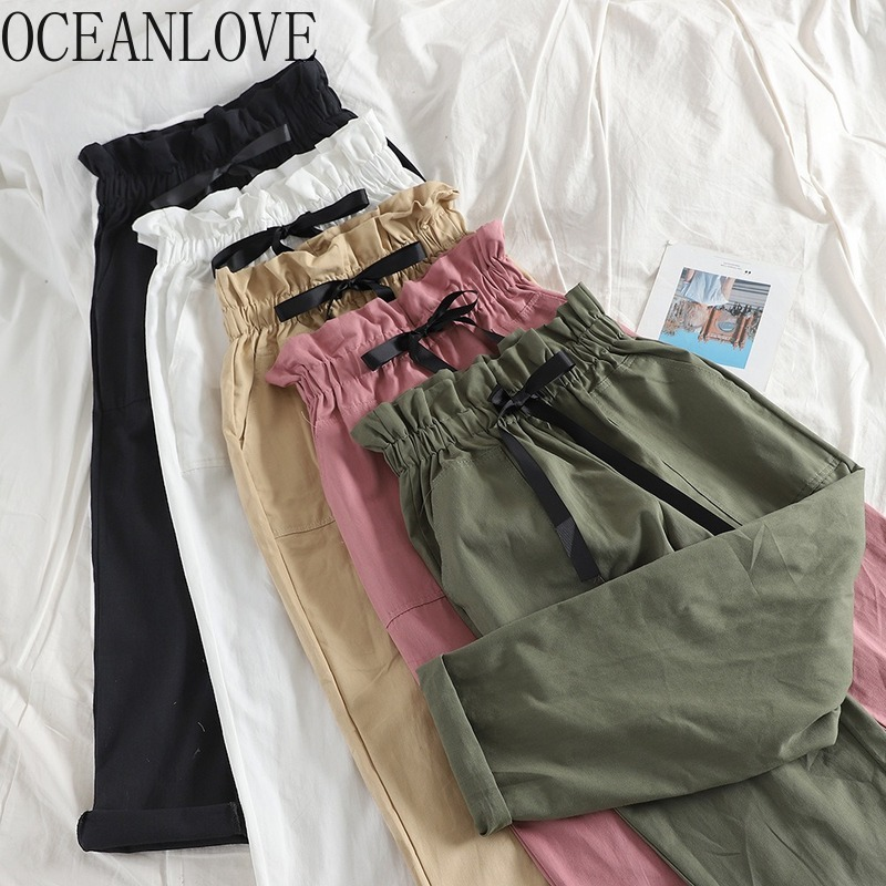 OCEANLOVE 2020 Spring Summer Pants Women Solid Drawstring High Waist Ankle-length Pantalon Femme All Match Casual Trousers 13682