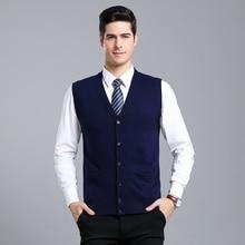 MACROSEA осень и зима мужской монотонный кардиган шерстяной свитер классический стиль мужской свитер без рукавов кардиган жилет 9069