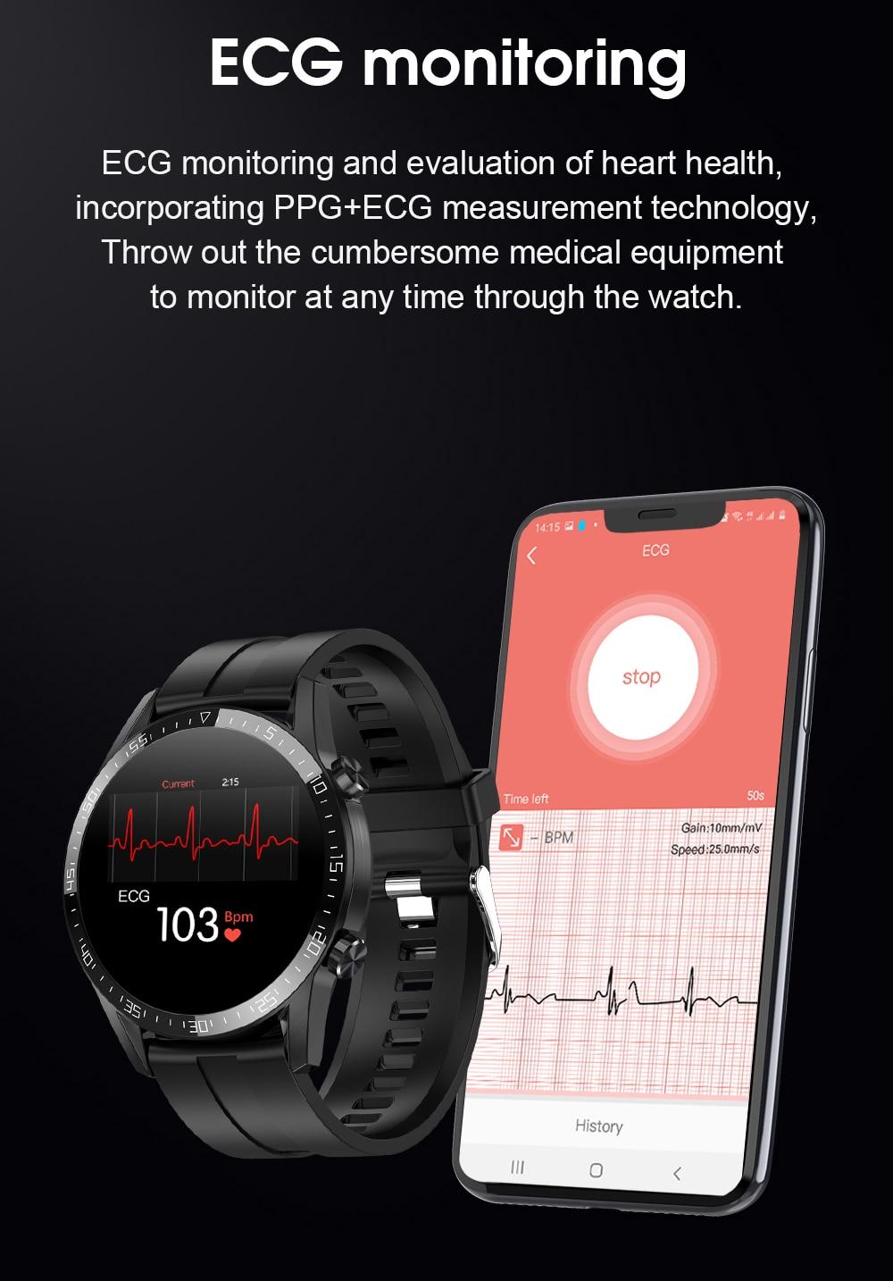 Hbe6bf577e26447569d51e9b4e3df7aedF IPbzhe Smart Watch Men Thermometer ECG Smart Watch IP68 Waterproof Blood Pressure Smartwatch Reloj Inteligente For Huawei Xiaomi
