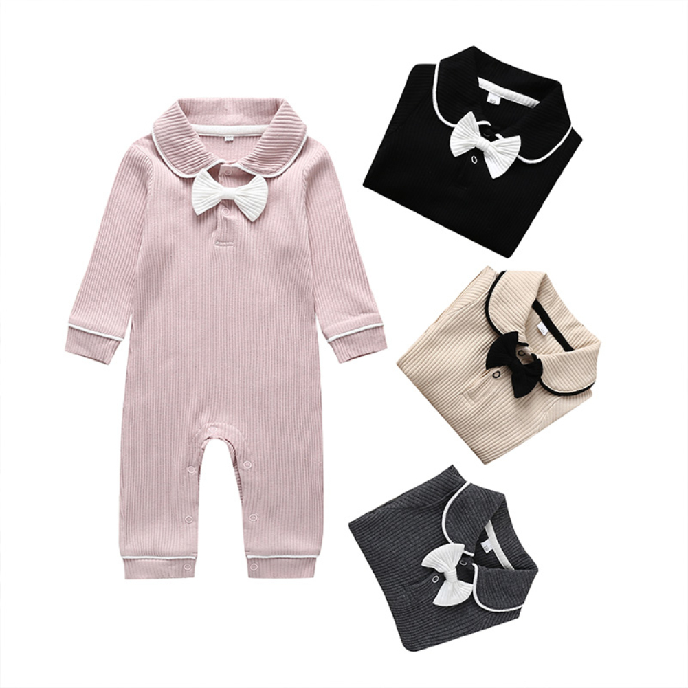 Toddler Baby Girl Clothes Knitted Long Sleeve Autumn   Romper   Jumpsuit Overall Outfit Bow Princess Sweet Warm Clothes 6-24M