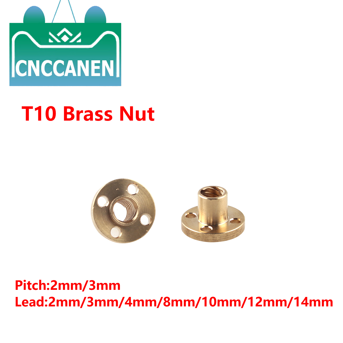 T10 Leadscrew Nut Pitch2mm 3mm Lead 2mm/3mm/4mm/8mm/10mm/12mm Brass Lead Screw Nut For CNC Parts 3D Printer Accessories
