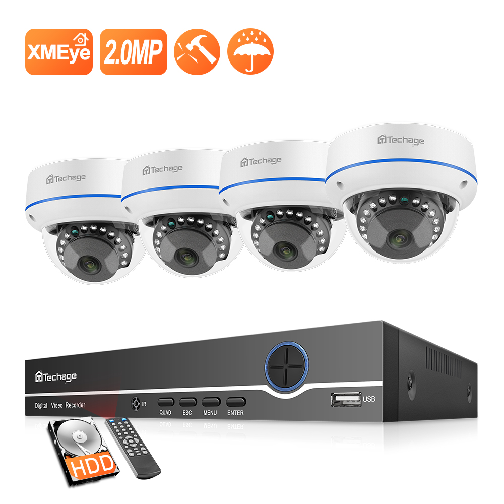 Techage H.265 4CH 1080P Home Security POE NVR Kit 2MP Audio Sound IP Camera Dome Indoor P2P Video CCTV Surveillance System Set