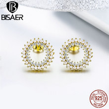 BISAER Bohemian Style Sterling Silver 925 Baroque Round Shape Stud Earrings For Girl Dating Jewelry 2019 Brincos Bijoux GAE070
