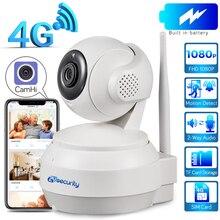 3G 4G karty Sim IP kamera PTZ 1080P bezprzewodowy bezpieczeństwo w domu kamera 2 Way Audio wideo kamery monitoringu CCTV sieci baterii kamera kopułkowa