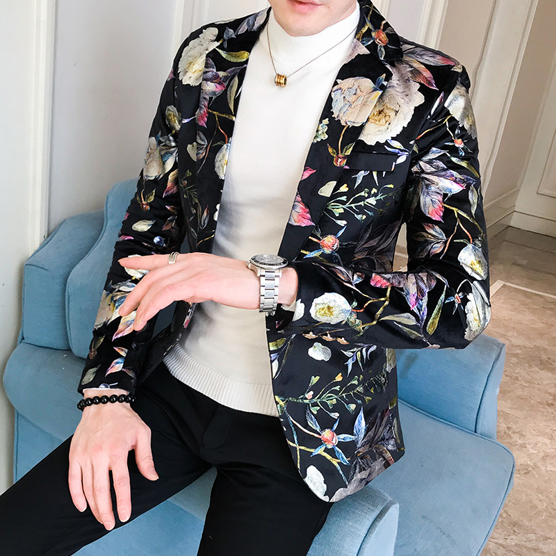 Unique Designs Stage Costume Tuxedos Blazer Men Slim Fit Letter Floral Print Suit Mens Blazer Jacket White Black