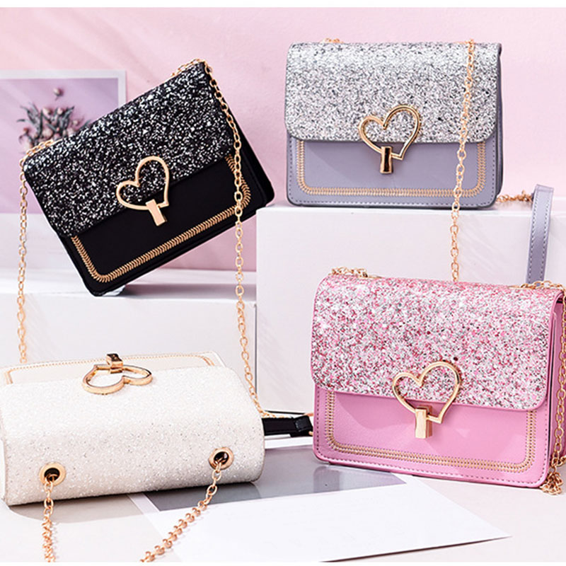 2019 New Arrival Women Bag Crossbody Bags For Women Heart Buckle Handbag Glitter Sequins Chain Shoulder Bag PU Leather Handbags