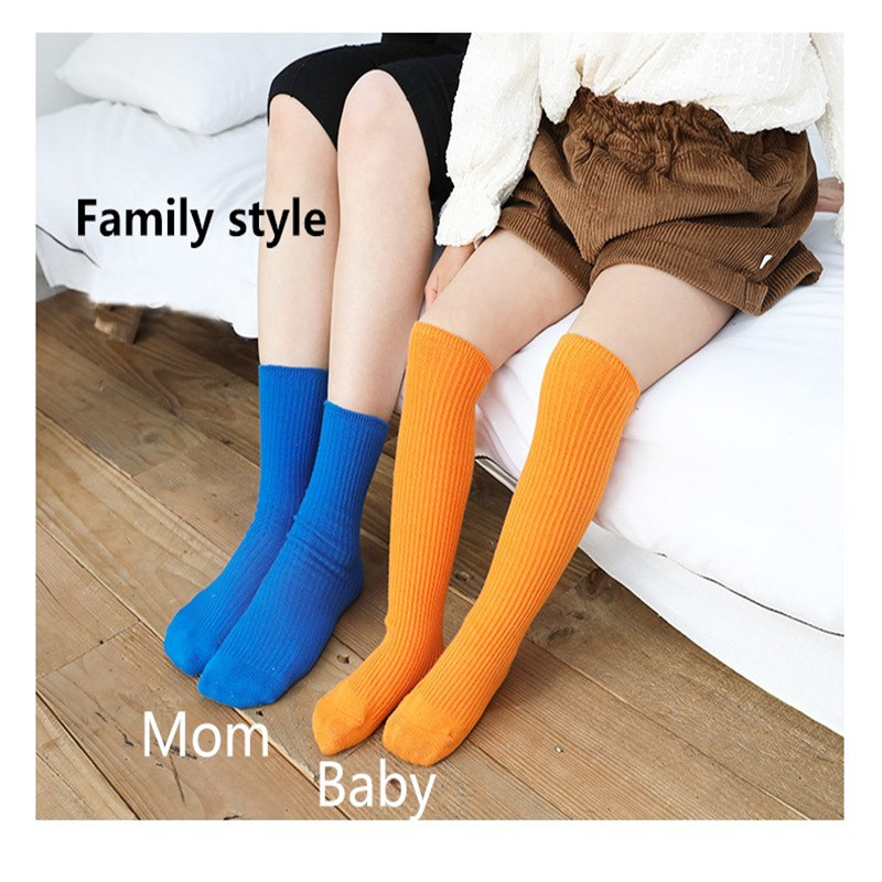 Candy Colors Children Socks Girls Boys Solid Striped Long Socks Spring Autumn Kids Clothes Accessories Length 33cm 4