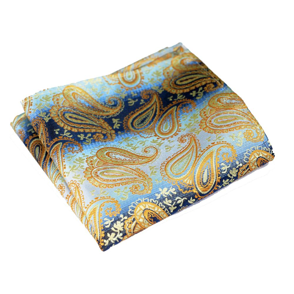 Wholesale Paisley Pink Blue Yellow Gold Red Burgundy Purple Orange Mens Hanky 100% Silk Jacquard Woven Elegant Handkerchief