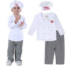 תינוק שף תלבושות סט תינוקות ליל כל הקדושים תחפושת תלבושת פעוט קוספליי טייס שלד דלעת קרנבל מסיבת בגדי 3PCS