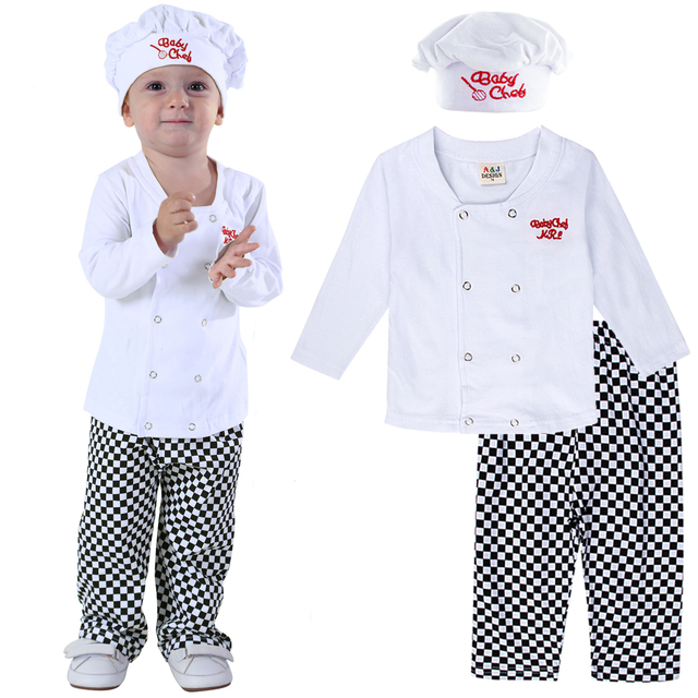 Baby Chef Costume Set Infant Halloween Fancy Dress Outfit Toddler Cosplay Pilot Skeleton Pumkin Carnival Party Clothes 3PCS