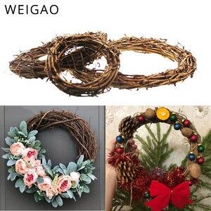 Image 3 - 10 40cm DIY asılı çelenk Rattan/bambu/Metal çelenk demir halka Hoop kapı asılı zanaat parti süslemeleri paskalya düğün çelenk