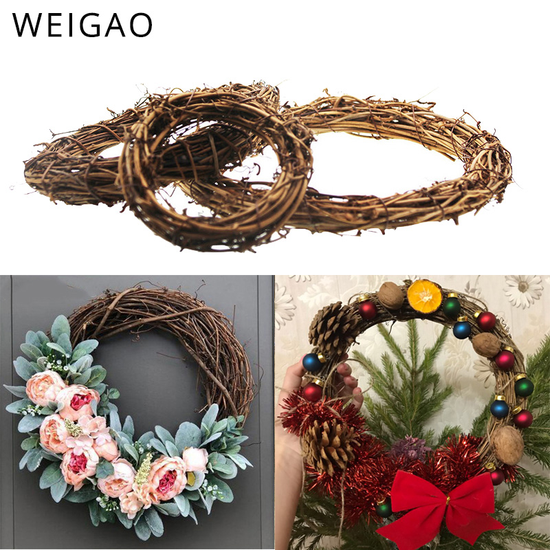 WEIGAO 10-30cm Xmas Home Decor Natural Rattan Wreath Christmas Wreath Crafts Happy Christmas Decoration Spring Wedding Wreath