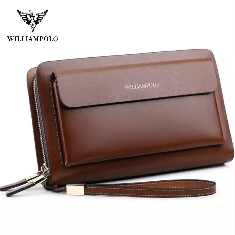 Business Mens Brand Clutch Bags WILLIAMPOLO Real Leather Phone Credit Card Organizer Large Wallet 2019 Fashion Zipper Hand Bag