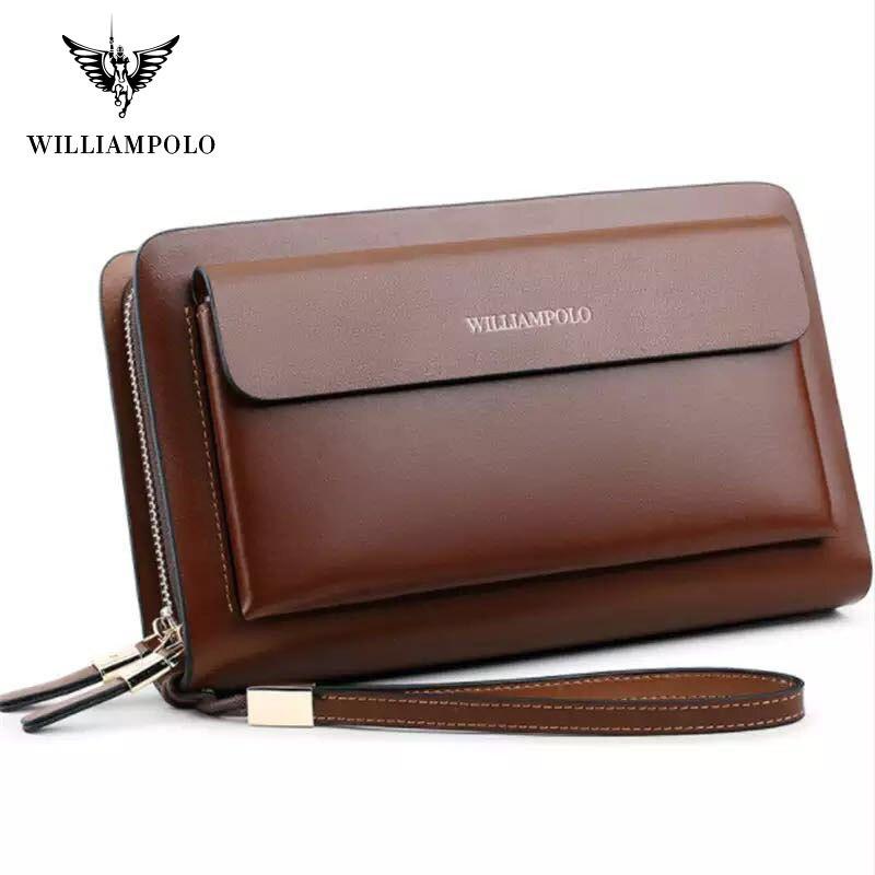 Pochettes de marque pour hommes d'affaires WILLIAMPOLO en cuir véritable organisateur de carte de crédit de téléphone grand portefeuille 2019 sac à main de fermeture à glissière de mode